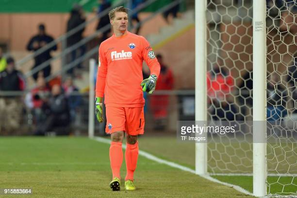 Goalkeeper Michael Ratajczak of Paderborn looks on during the DFB Cup match between SC Paderborn and Bayern Muenchen at Benteler Arena on February 6...