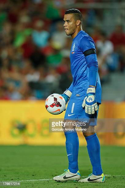 goalkeeper Michel Vorm of Netherlands holds the ball during the International Friendly match between Portugal and Netherlands at Estadio Algarve on...