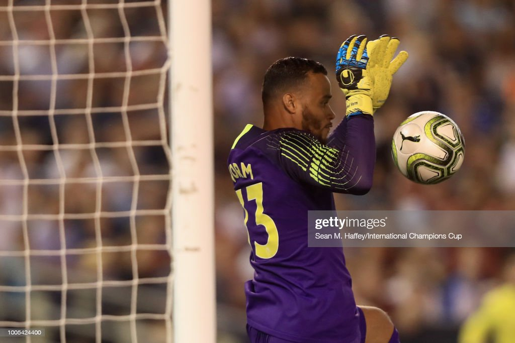 Goalkeeper Michel Vorm #13 of Tottenham Hotspur makes a save against A.S. Romaduring an International Champions Cup match at SDCCU Stadium on July 25, 2018 in San Diego, California.