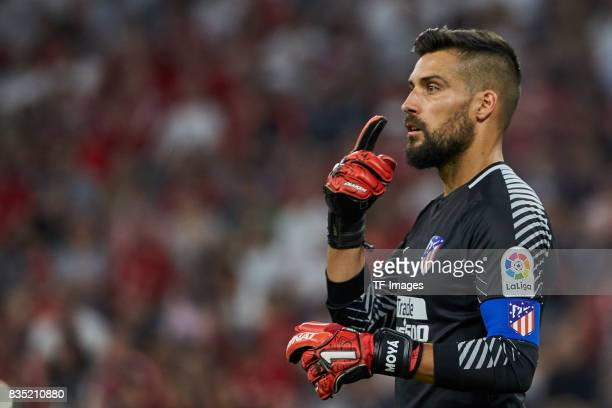 Goalkeeper Miguel Angel Moya of Atletico Madrid gestures during the Audi Cup 2017 match between Liverpool FC and Atletico Madrid at Allianz Arena on...