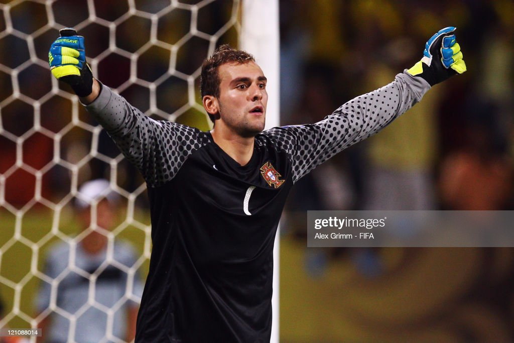 Goalkeeper Mika of Portugal celebrates after killing the deciding penalty during the penalty shoot-out at the FIFA U-20 World Cup 2011 quarter final match between Portugal and Argentina at Estadia Jaime Moron Leon on August 13, 2011 in Cartagena, Colombia.