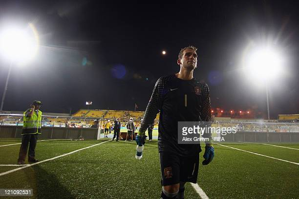 Goalkeeper Mika of Portugal leaves the pitch after the FIFA U20 World Cup 2011 quarter final match between Portugal and Argentina at Estadia Jaime...