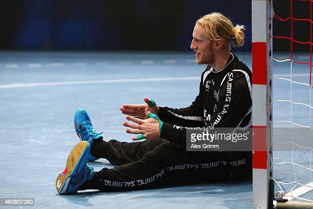 Goalkeeper Mikael Appelgren of Melsungen reacts during the DKB Handball Bundesliga match between MT Melsungen and SG FlensburgHandewitt at...