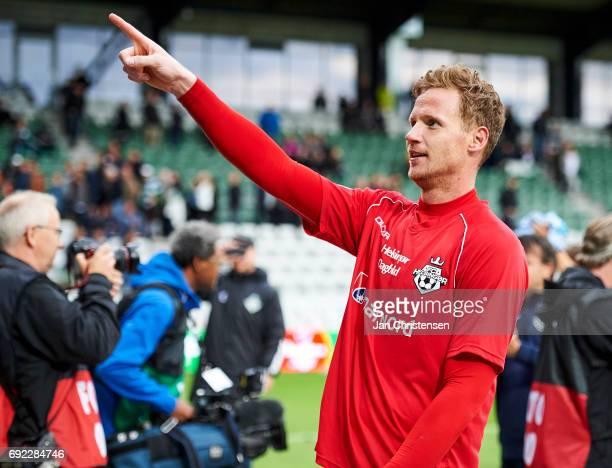 Goalkeeper Mikkel Bruhn of FC Helsingor celebrate after the Danish Alka Superliga Playoff 2nd Leg Final match between Viborg FF and FC Helsingor at...