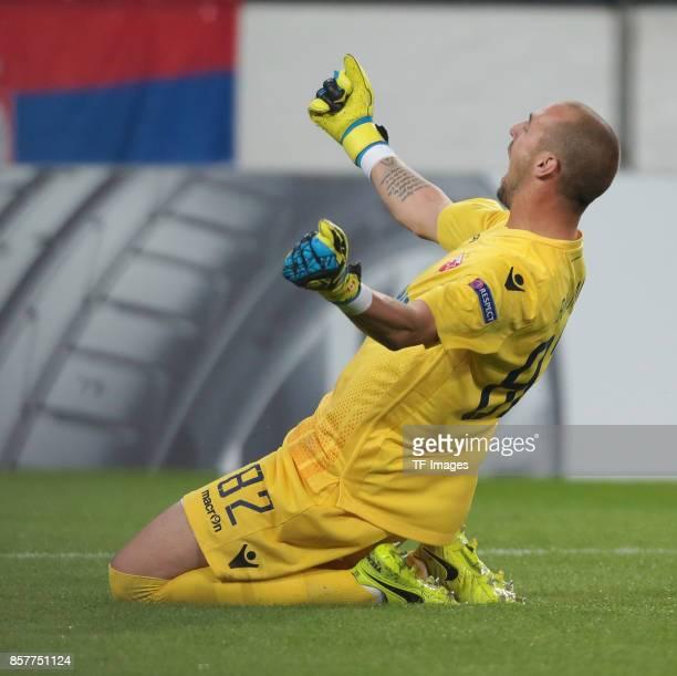 Goalkeeper Milan Borjan of Belgrad celebrate a goal during the UEFA Europa League group H match between 1 FC Koeln and Crvena Zvezda at...