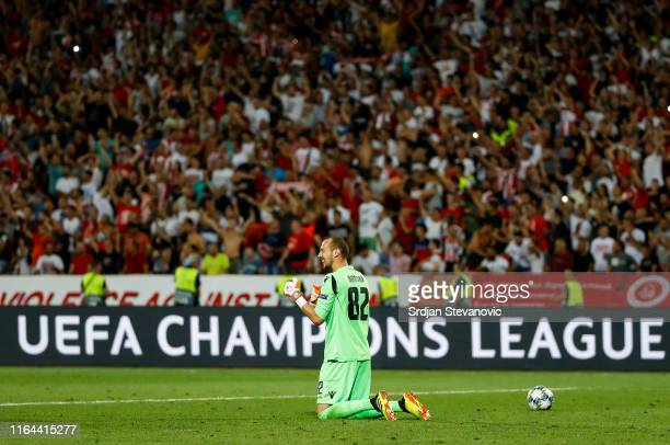 Goalkeeper Milan Borjan of Crvena Zvezda celebrates after winning the UEFA Champions League Play Off Second Leg match between Crvena Zvezda and Young...