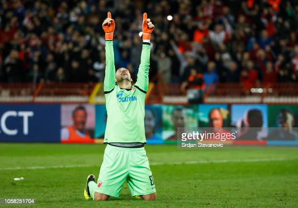 Goalkeeper Milan Borjan of Crvena Zvezda celebrates victory after the Group C match of the UEFA Champions League between Red Star Belgrade and...