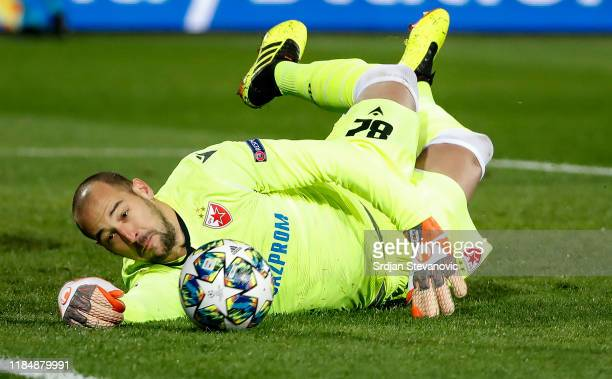 Goalkeeper Milan Borjan of Crvena zvezda in action during the UEFA Champions League group B match between Crvena Zvezda and Bayern Muenchen at Rajko...