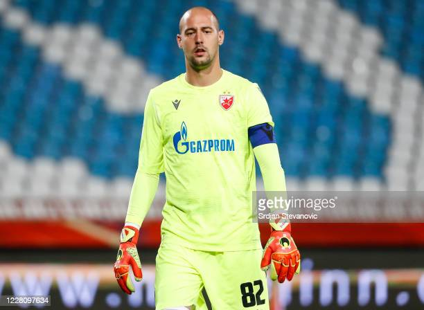Goalkeeper Milan Borjan of Crvena Zvezda in action during the UEFA Champions League First Qualifying Round match between Crvena Zvezda v Europa FC at...