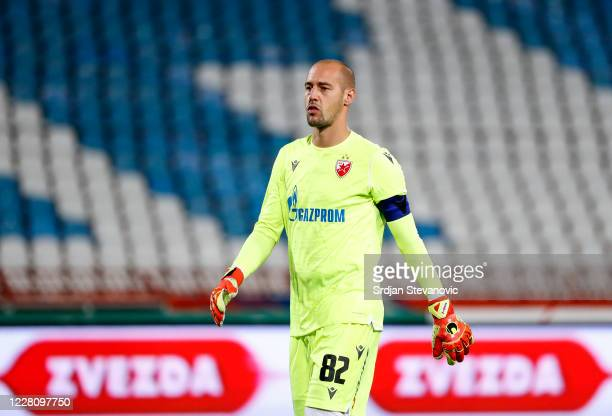 Goalkeeper Milan Borjan of Crvena Zvezda looks on during the UEFA Champions League First Qualifying Round match between Crvena Zvezda v Europa FC at...