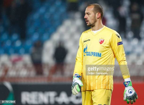 Goalkeeper Milan Borjan of Crvena Zvezda looks on during the UEFA Europa League Round of 32 match between Crvena Zvezda Belgrade and CSKA Moscow at...