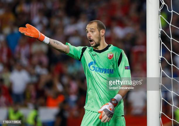 Goalkeeper Milan Borjan of Crvena Zvezda reacts during the UEFA Champions League Play Off Second Leg match between Crvena Zvezda and Young Boys at...