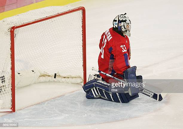Goalkeeper Milan Hejduk of Czech Republic looks dejected after Fredrik Modin of Sweden scored the first goal for Sweden during the first period in...