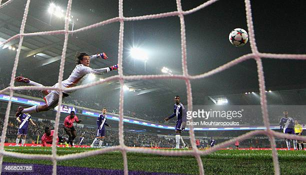 Goalkeeper, Mile Svilar of Anderlecht attempts to make a save during the UEFA Youth League quarter final match between RSC Anderlecht and FC Porto at...
