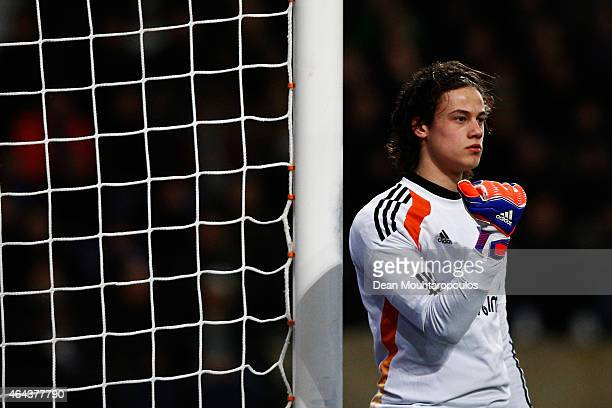 Goalkeeper Mile Svilar of Anderlecht in action during the UEFA Youth League Round of 16 match between RSC Anderlecht and FC Barcelona held at at...