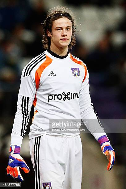 Goalkeeper Mile Svilar of Anderlecht looks on during the UEFA Youth League Round of 16 match between RSC Anderlecht and FC Barcelona held at at...