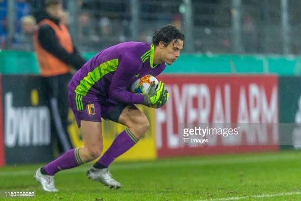 goalkeeper Mile Svilar of Belgium U21 controls the ball during the UEFA Under 21 European Qualifier match between Germany U21 and Belgium U21 at...