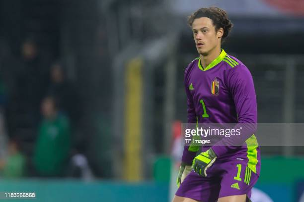 goalkeeper Mile Svilar of Belgium U21 looks on during the UEFA Under 21 European Qualifier match between Germany U21 and Belgium U21 at...