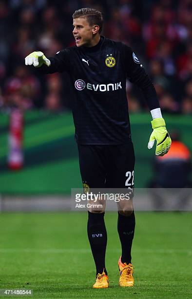 Goalkeeper Mitch Langerak of Dortmund reacts during the DFB Cup Semi Final match between FC Bayern Muenchen and Borussia Dortmund at Allianz Arena on...