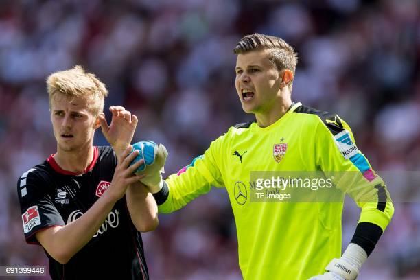 Goalkeeper Mitchell Langerak of Stuttgart gestures during the Second Bundesliga match between VfB Stuttgart and FC Wuerzburger Kickers at...