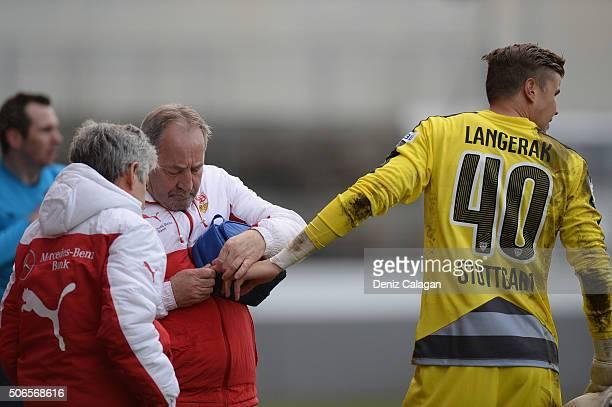 goalkeeper Mitchell Langerak of Stuttgart injured his finger during the Third League match between VfB Stuttgart II and SG Sonnenhof Grossaspach at...
