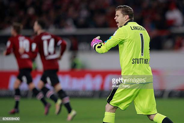 Goalkeeper Mitchell Langerak of Stuttgart reacts after Kevin Moehwald of Nuernberg scored his team's first goal during the Second Bundesliga match...