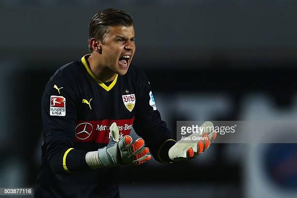 Goalkeeper Mitchell Langerak of Stuttgart reacts during a friendly match between VfB Stuttgart and Antalyaspor at Akdeniz Universitesi on January 7...