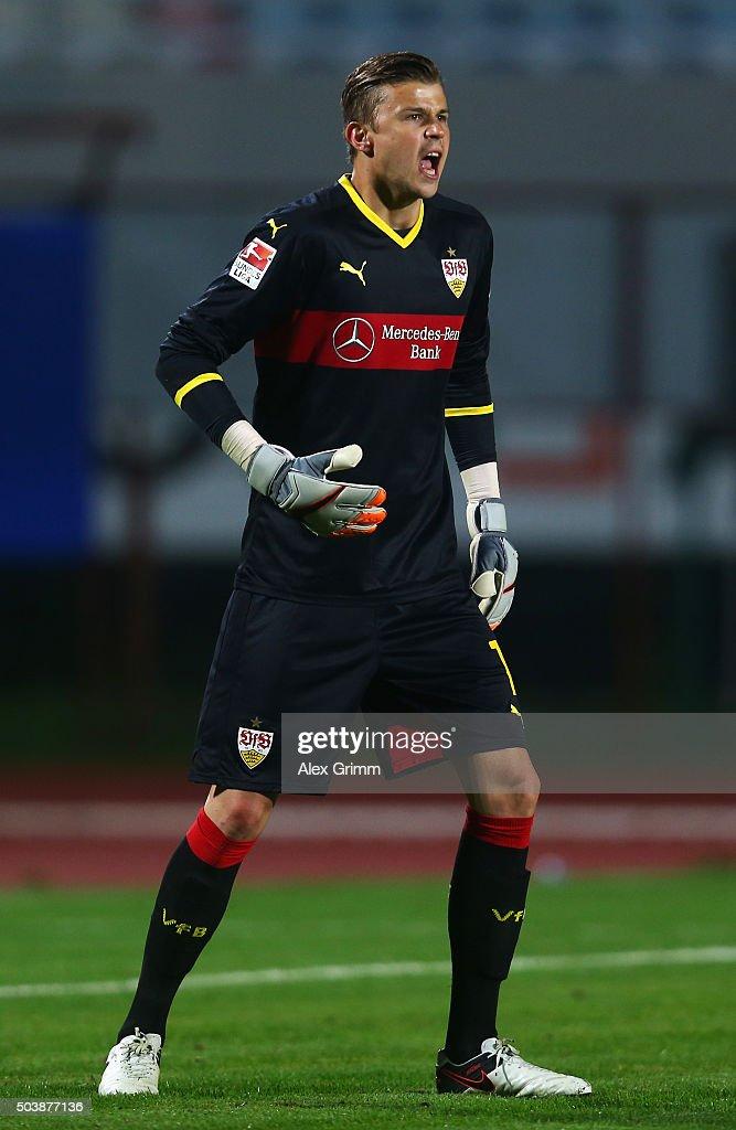 Goalkeeper Mitchell Langerak of Stuttgart reacts during a friendly match between VfB Stuttgart and Antalyaspor at Akdeniz Universitesi on January 7, 2016 in Antalya, Turkey.