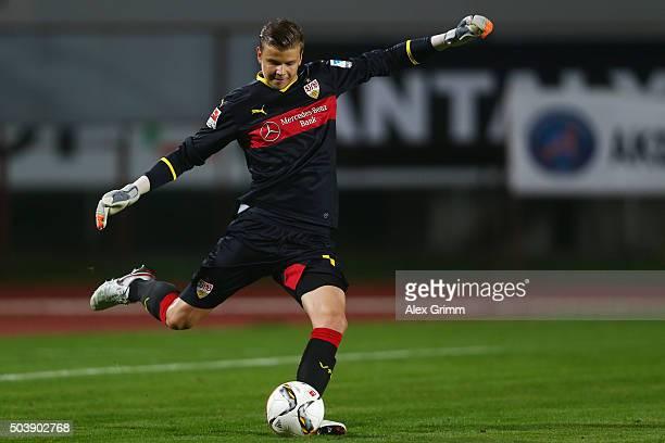 Goalkeeper Mitchell Langerak of Stuttgart shoots the ball during a friendly match between VfB Stuttgart and Antalyaspor at Akdeniz Universitesi on...