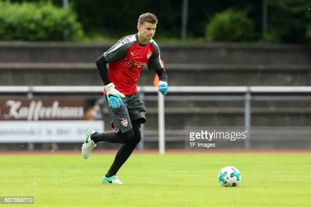 Goalkeeper Mitchell Langerak of VfB Stuttgart controls the ball during the Training Camp of VfB Stuttgart on July 10 2017 in Grassau Germany