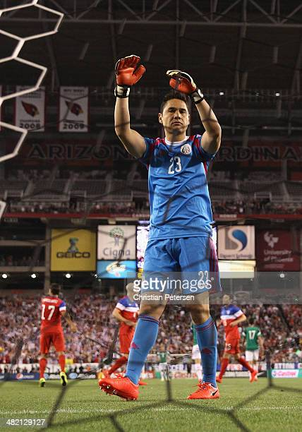 Goalkeeper Moises Munoz of Mexico reacts after allowing a first half goal to USA during the International Friendly at University of Phoenix Stadium...