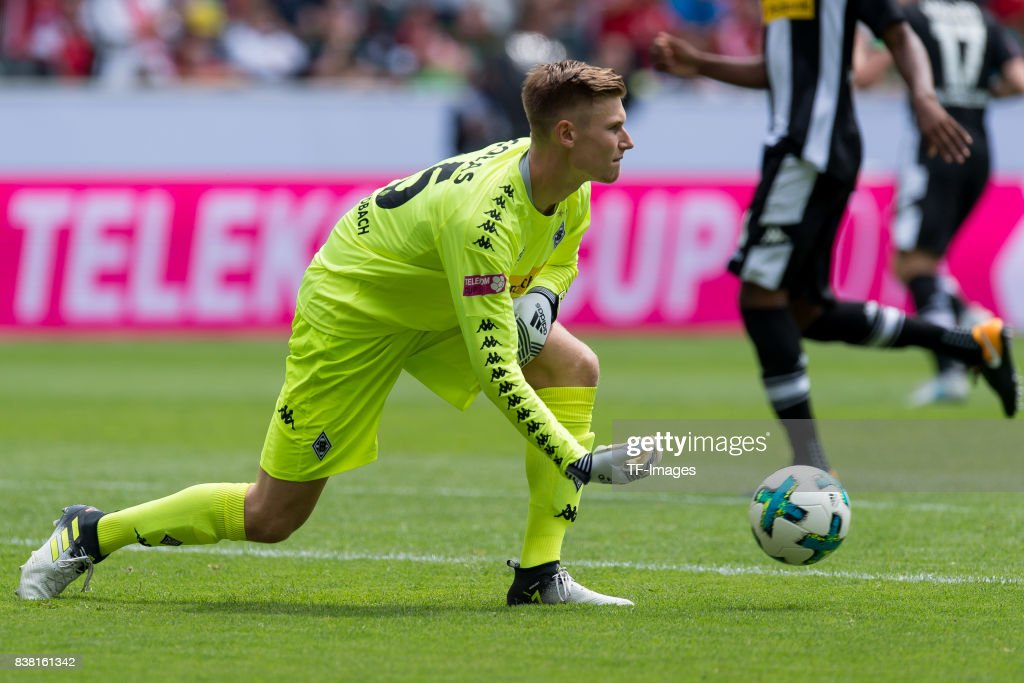 Goalkeeper Moritz Nicolas of Gladbach controls the ball during the Telekom Cup 2017 match between Borussia Moenchengladbach and Werder Bremen at on July 15, 2017 in Moenchengladbach, Germany.