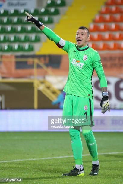 Goalkeeper Muslera of Galatasaray gestures during the Turkish Super Lig match between Aytemiz Alanyaspor and Galatasaray at Bahcesehir School Arena,...