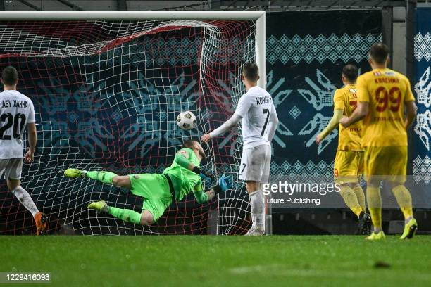Goalkeeper Mykyta Shevchenko misses a goal during the Ukrainian Premier League Matchday 8 game against FC Inhulets Petrove at the Slavutych Arena,...