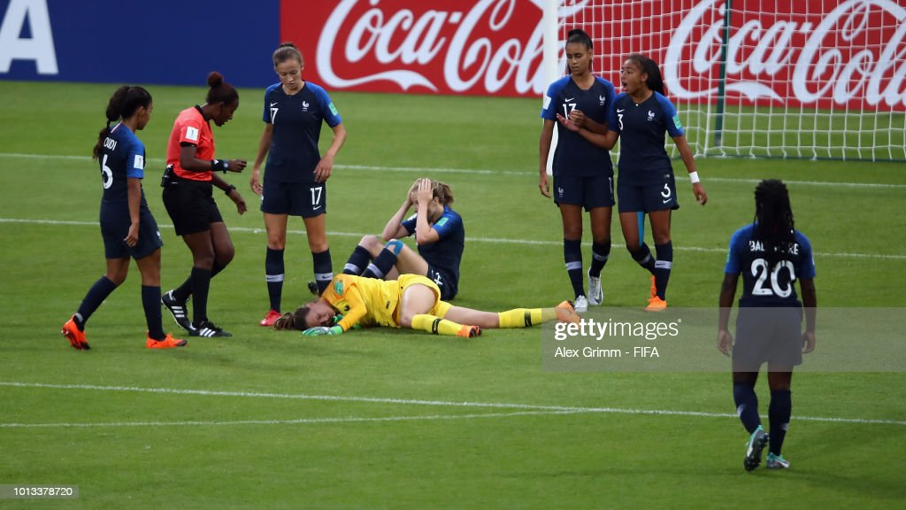 Goalkeeper Mylene Chavas of France reacts after a tackle during the FIFA U-20 Women's World Cup France 2018 group A match between France and New Zealand at Stade de la Rabine on August 8, 2018 in Vannes, France.