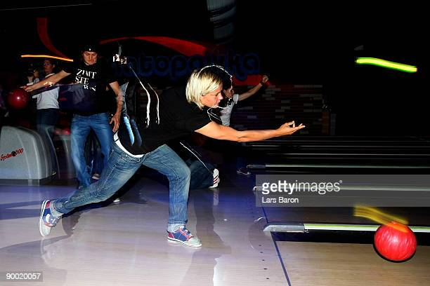 Goalkeeper Nadine Angerer and Jennifer Zietz of the German National Team bowl on August 22 2009 in Tampere Finland Germany will face Norway France...