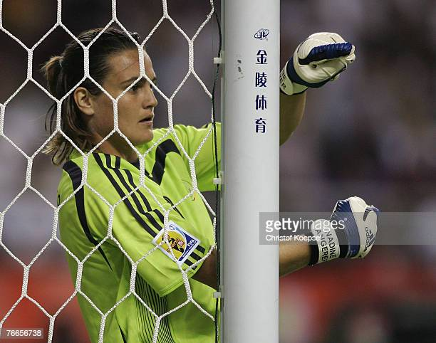 Goalkeeper Nadine Angerer of Germany issues instructions during the FIFA Women's World Cup 2007 Group A match between Germany and Argentina at the...