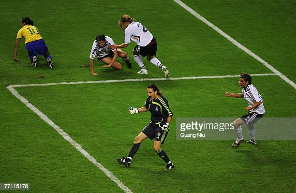 Goalkeeper Nadine Angerer of Germany reacts after she saves a penalty shot during the Women's World Cup 2007 final between Germany and Brazil at...