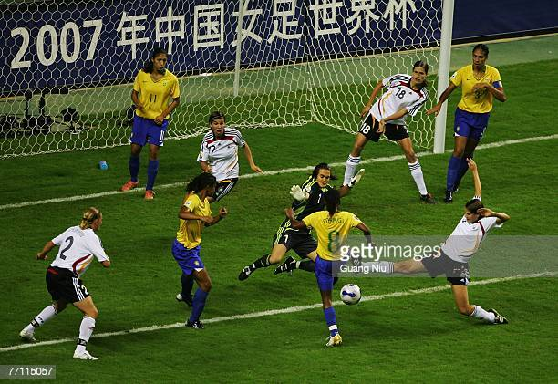 Goalkeeper Nadine Angerer of Germany saves a shoot during the Women's World Cup 2007 final between Germany and Brazil at Shanghai Hongkou Football...