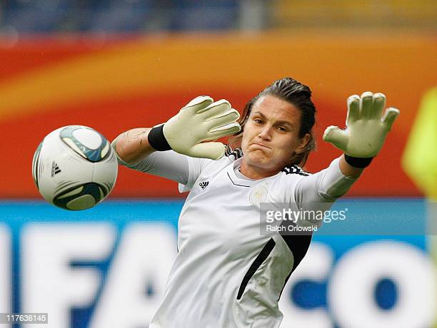 Goalkeeper Nadine Angerer tries to save the ball the Germany Women national team training session at Commerzbank Arena on June 29 2011 in Frankfurt...