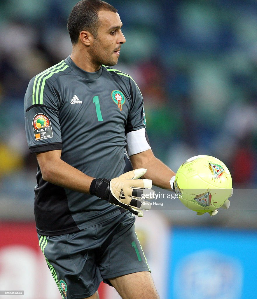 Goalkeeper Nadir Lamyaghri of Morocco is shown in action during the 2013 African Cup of Nations match between Morocco and Cape Verde at Moses Mahbida Stadium on January 23, 2013 in Durban, South Africa.