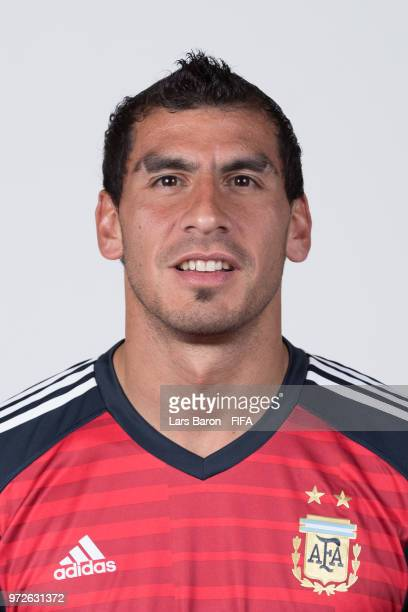 Goalkeeper Nahuel Guzman of Argentina poses for a portrait during the official FIFA World Cup 2018 portrait session on June 12 2018 in Moscow Russia