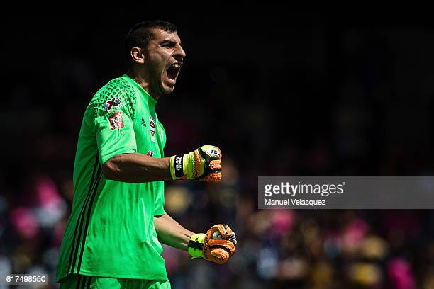 Goalkeeper Nahuel Guzman of Tigres celebrates after a goal of his team during a match between Pumas UNAM and Tigres UANL as part of the Apertura 2016...