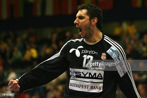 Goalkeeper Nandor Fazekas of Hungary celebrates during the Men's Handball European Championship main round Group II match between Hungary and Sweden...