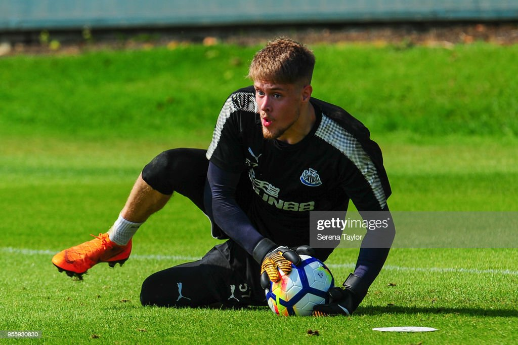 Goalkeeper Nathan Harker catches the ball during the Newcastle United Training Session at the Newcastle United Training Centre on May 8, 2018, in Newcastle upon Tyne, England.