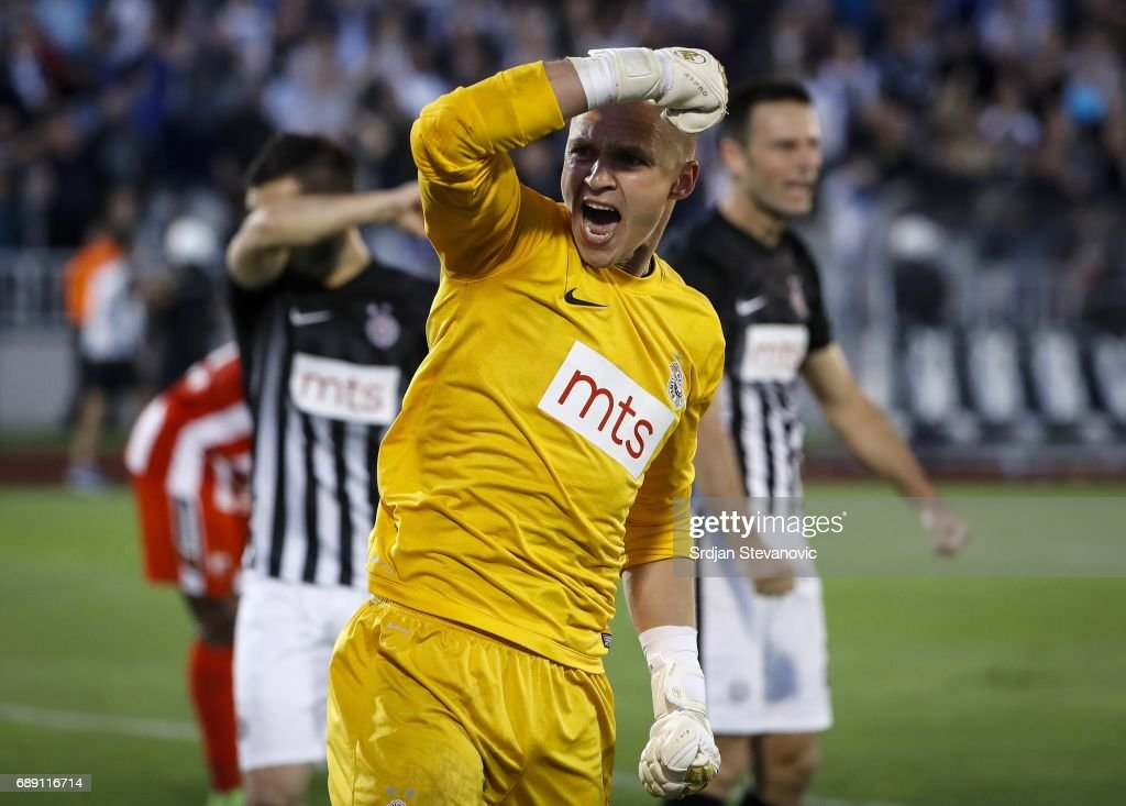 Goalkeeper Nemanja Stevanovic (C) of Partizan celebrates during the final match of Serbian Cup between Fc Partizan and Fc Crvena Zvezda on May 27, 2017 in Belgrade, Serbia.