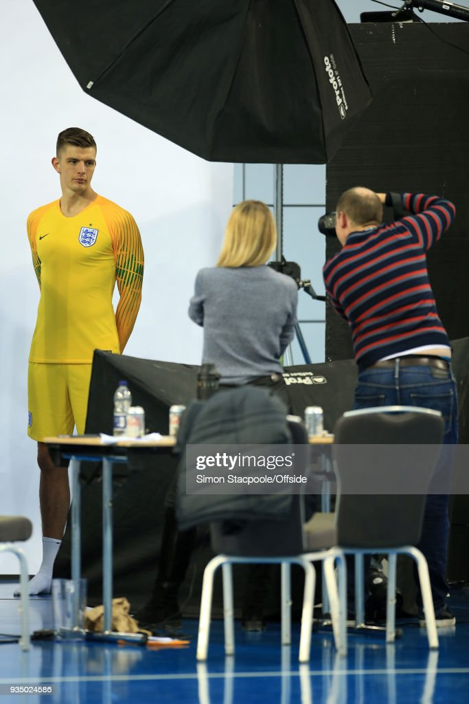 Goalkeeper Nick Pope poses for portraits during an England training session at St. George's Park on March 20, 2018 in Burton-upon-Trent, England.