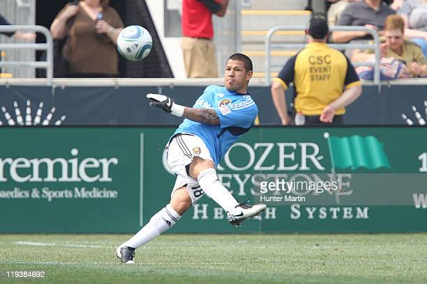 Goalkeeper Nick Rimando of Real Salt Lake in action during a game against the Philadelphia Union at PPL Park on June 11 2011 in Chester Pennsylvania...