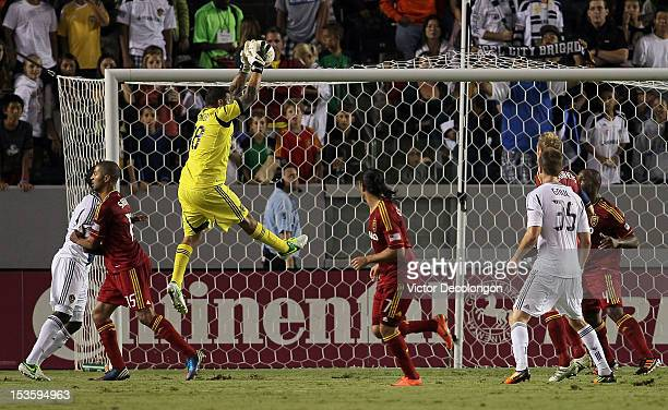 Goalkeeper Nick Rimando of Real Salt Lake makes a save against the Los Angeles Galaxy in the second half during their MLS match at The Home Depot...