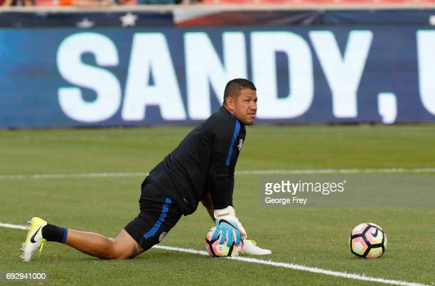Goalkeeper Nick Rimando of the United States warms up before an international friendly soccer game on June 3 2017 at Rio Tinto Stadium in Sandy Utah...